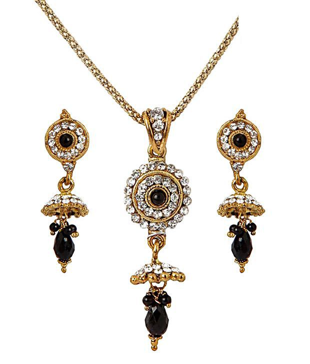 Sharnam Arts Fashionable Black Drop Golden Necklace