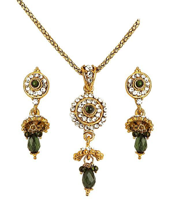 Sharnam Arts Fashionable Green Drop Golden Necklace