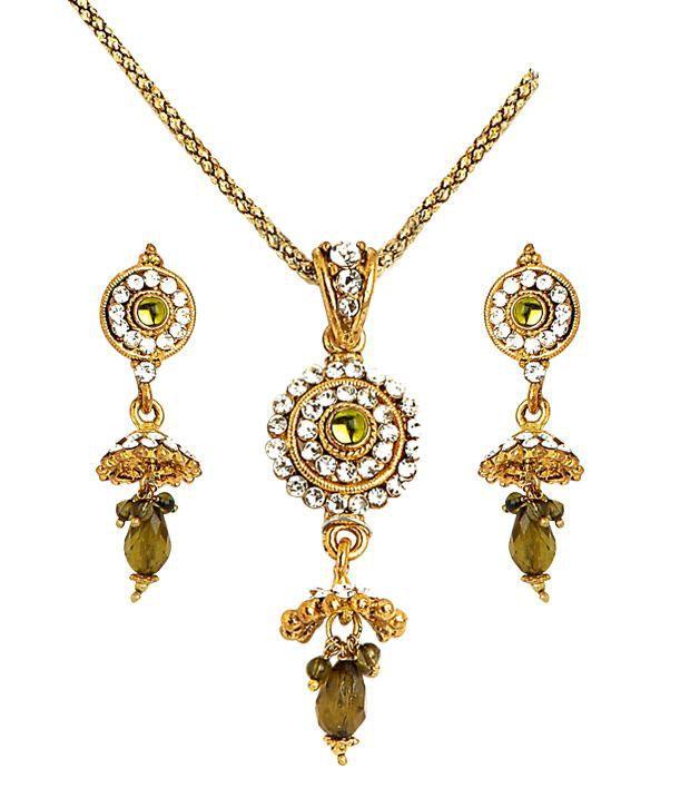 Sharnam Arts Gorgeous Green Drop Golden Necklace Set