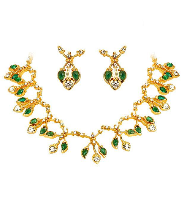 Sharnam Arts Green & White Crystal Necklace Set