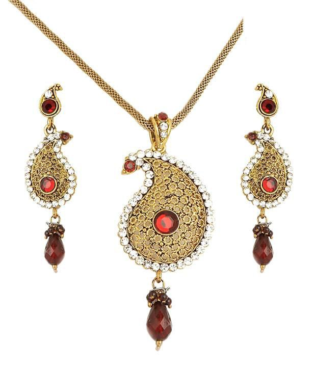 Sharnam Arts Red Drop Golden Paisley Necklace Set