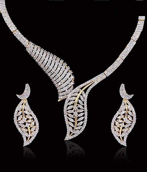 Sukkhi Amazing Leaf Design CZ Necklace Set