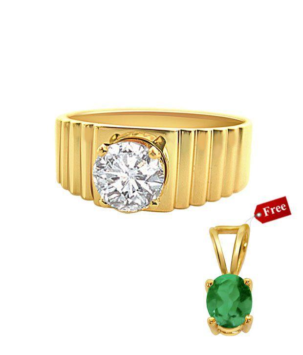 Surat Diamond Elegant Men's Ring With Free Emerald Gold Pendant