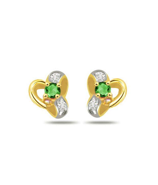 Surat Diamond Floral Emerald Earrings