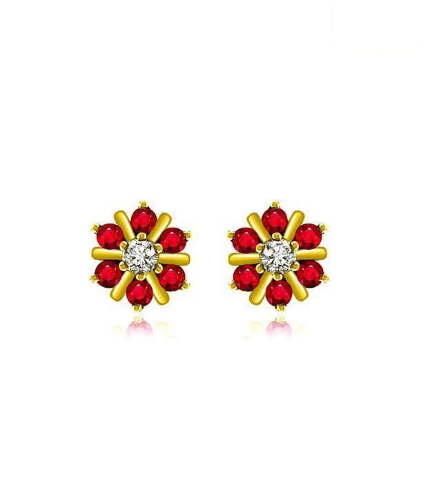 Surat Diamond Ruby Floral Golden Earrings