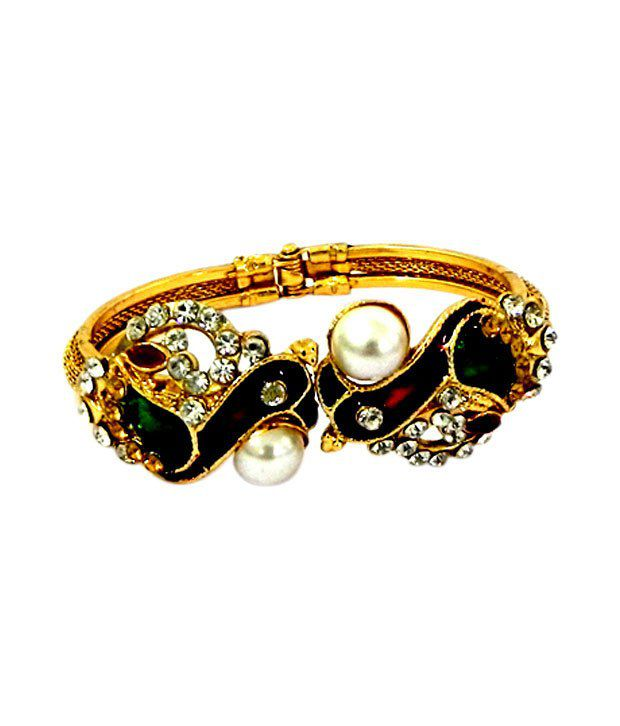 Variation Peacock Designer Pearl Studded Openable Bangle
