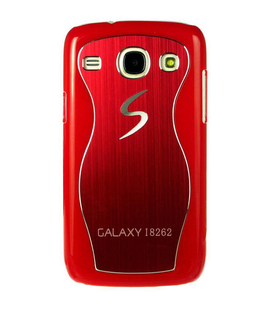 Dressmyphone Brushed Metal Designer Back Cover For Samsung Galaxy Core I8262 - Red