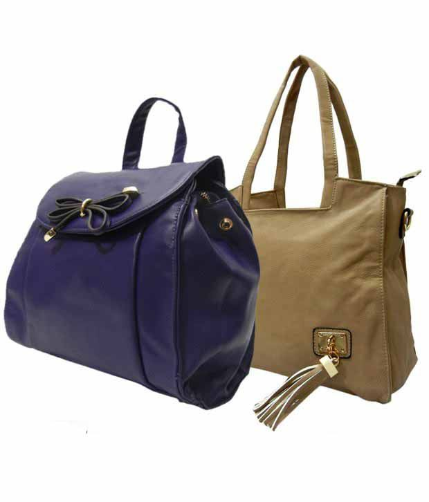 1 to All Bags Luminous Beige Purple Bags Combo