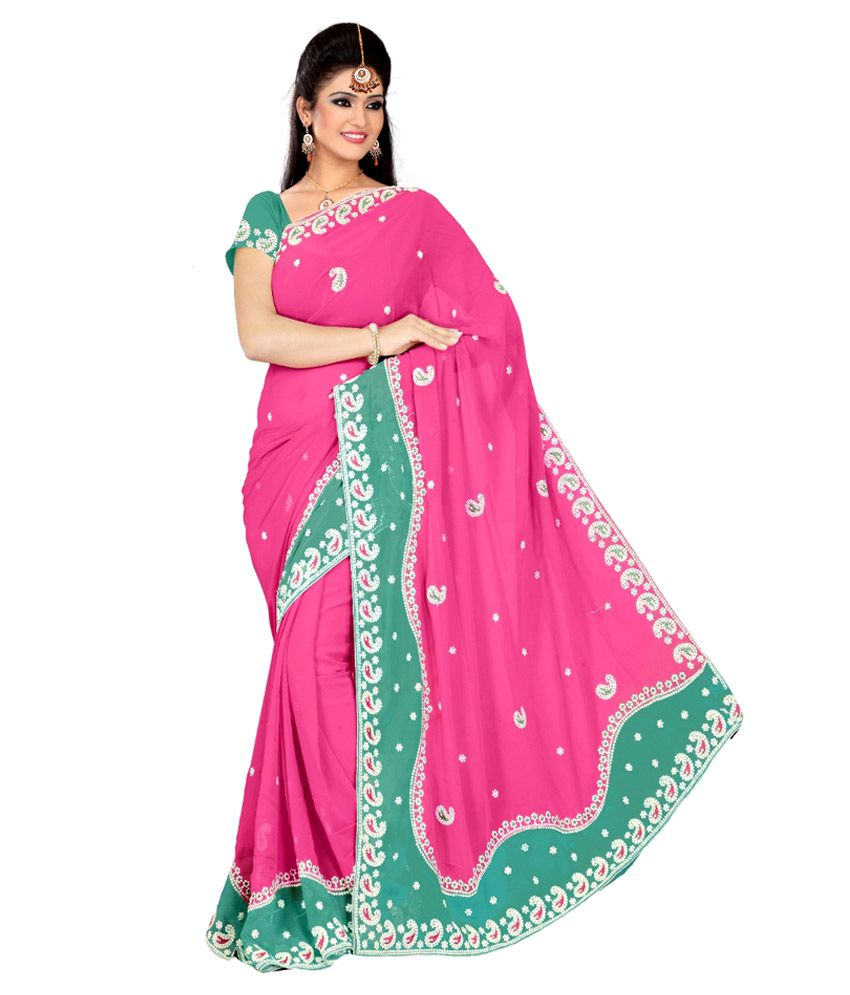 ccf6db2af4b Astha Fashion Indian Beautiful Pink Party Wear Saree - Buy Astha Fashion  Indian Beautiful Pink Party Wear Saree Online at Low Price - Snapdeal.com