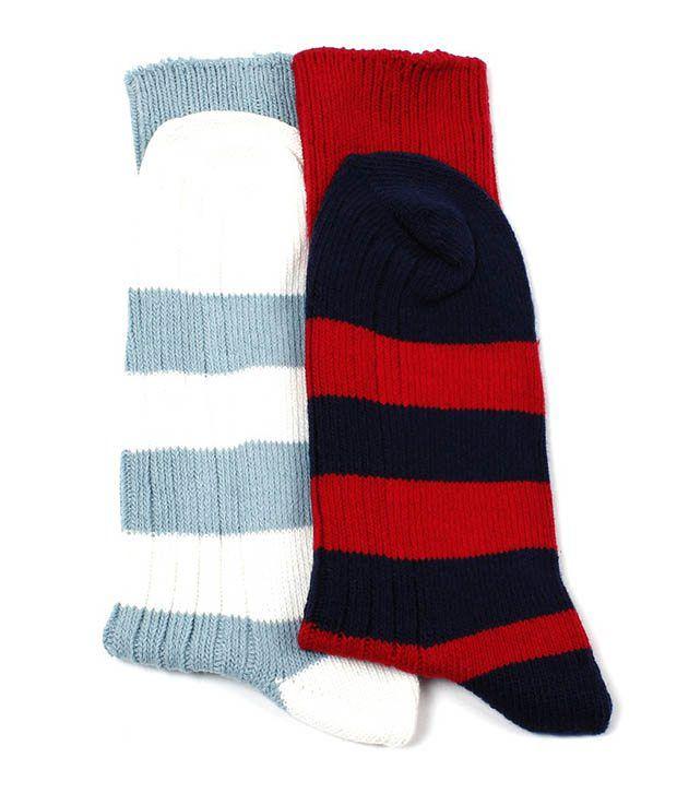 FCUK Red & White Stripes Socks For Men Pack Of 2