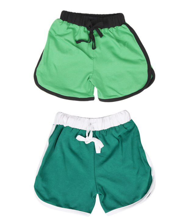 Robinbosky Rakish Light Green and Dark Green Pack of 2 Shorts For Kids