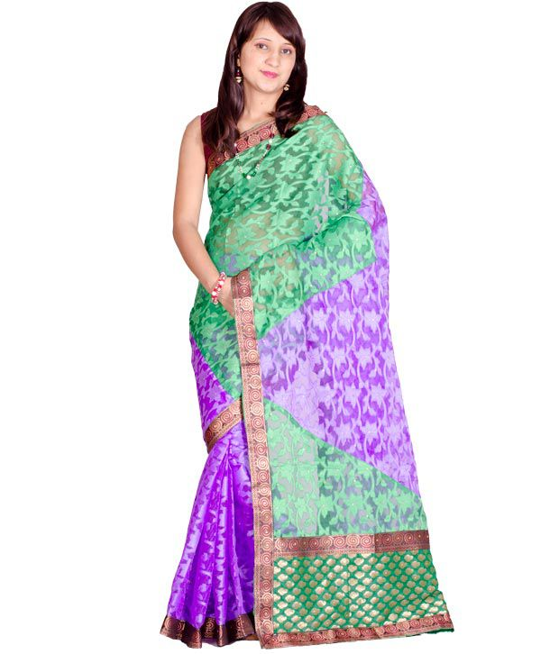 Chandrakala Green Chanderi Banarsi Saree