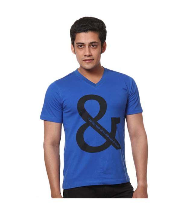 Design Roadies Vibrant Royal Blue V-Neck T-Shirt
