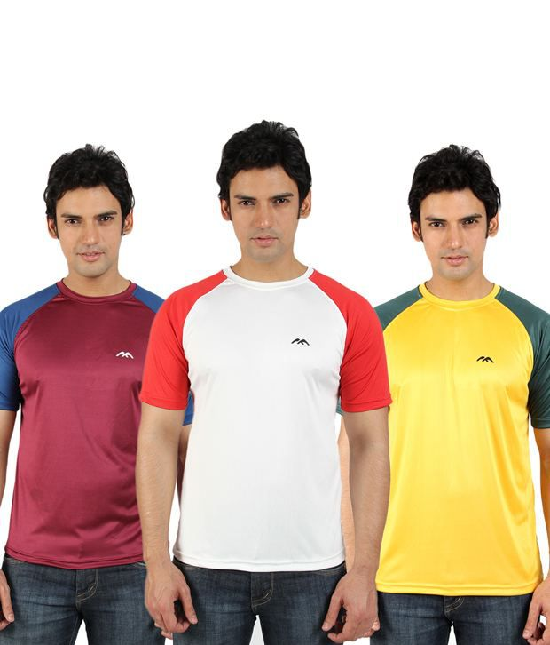 Go Untucked Maroon-White-Yellow Pack of 3 T shirts