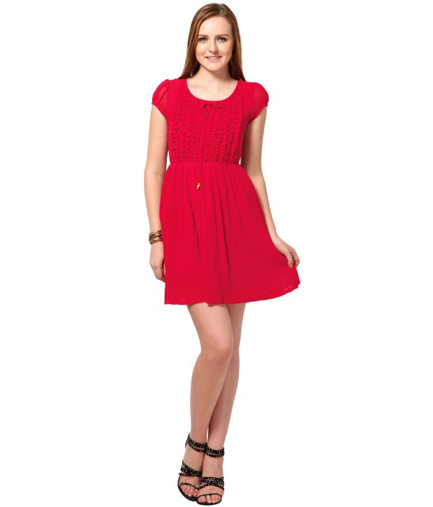 c368a4c687 The Vanca Fuchsia Short Sleeve Poly Georgette Dress - Buy The Vanca ...