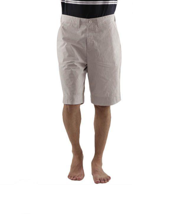 Wills Lifestyle Light Brown Striped Bermuda Shorts
