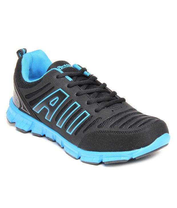Action Cool Black & Blue Sports Shoes