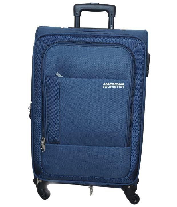 american tourister atlanta navy blue 4 wheel soft luggage