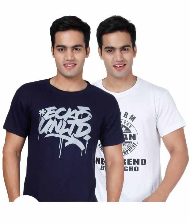 Grand Bear Blue-White Pack Of 2 T-Shirts with Free Watch