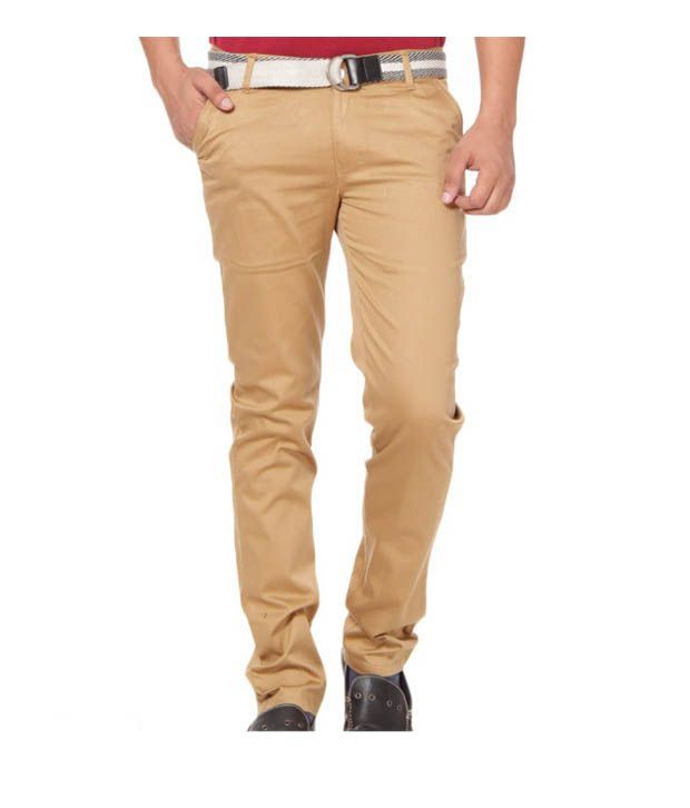 Harvest Fashionable Light Brown Stretchable Chinos with Free Earphones