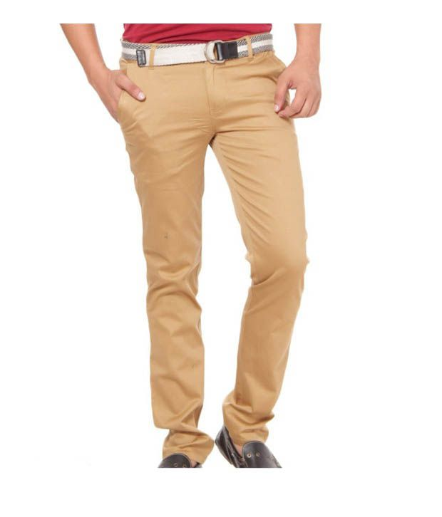 Harvest Light Brown Stretchable Chinos with Free Earphones