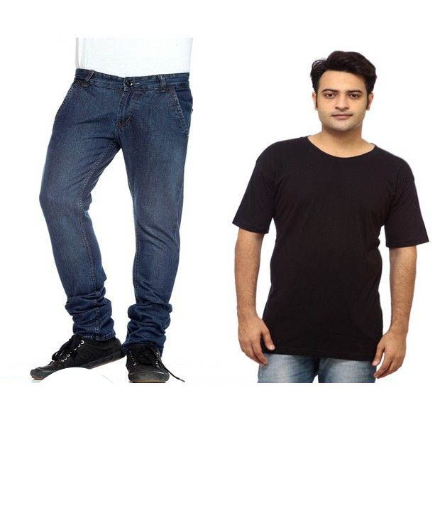 NX Pack of 1 Blue Jeans & 1 Black T Shirt With Free Wallet