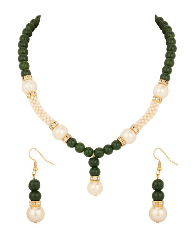 Voylla Pearl Necklace Set with Green and White Beads; Czs