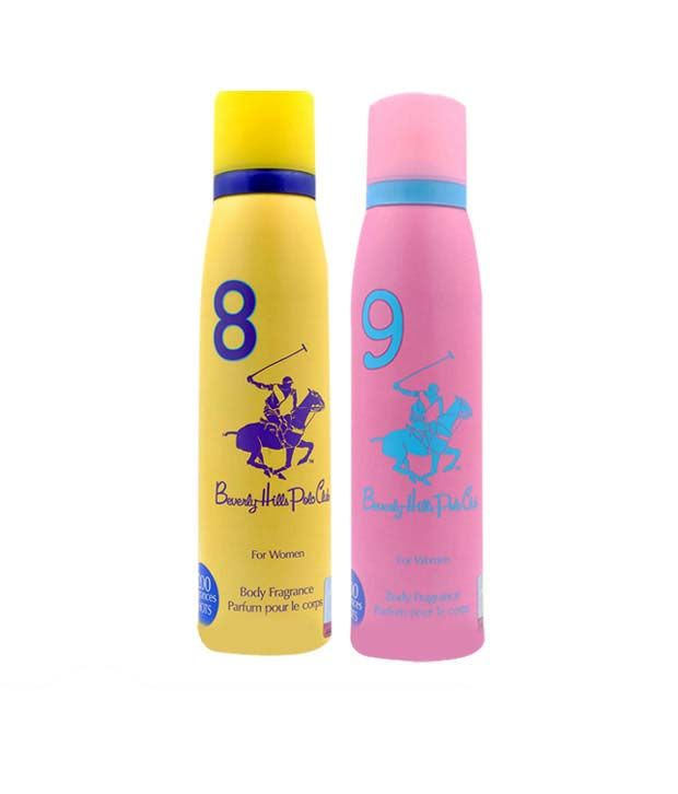 Beverly Hills Polo Club Set of 2 Water Based Deodorant No 8&9 for women - 1200 Sprays
