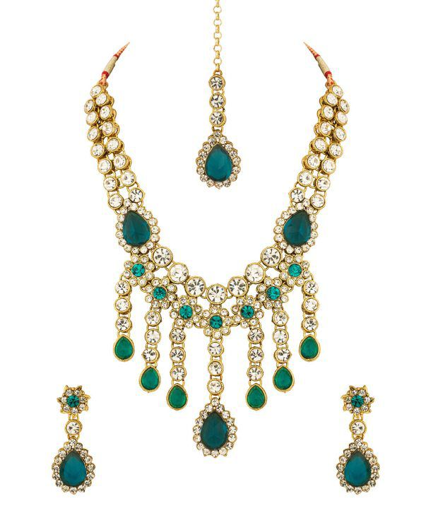 Voylla Gold Plated Floral-Tear Drop Mang Tikka Set Studded With Cz; Blue Stones