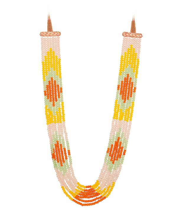 Voylla Necklace with Baby Pink; Orange; Yellow; Green Beads Woven Beautifully