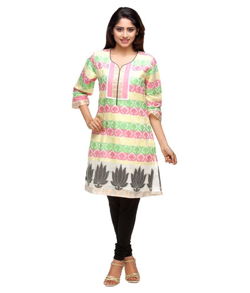 Avishi Banarasi Chanderi Cotton Zari Work Kurti
