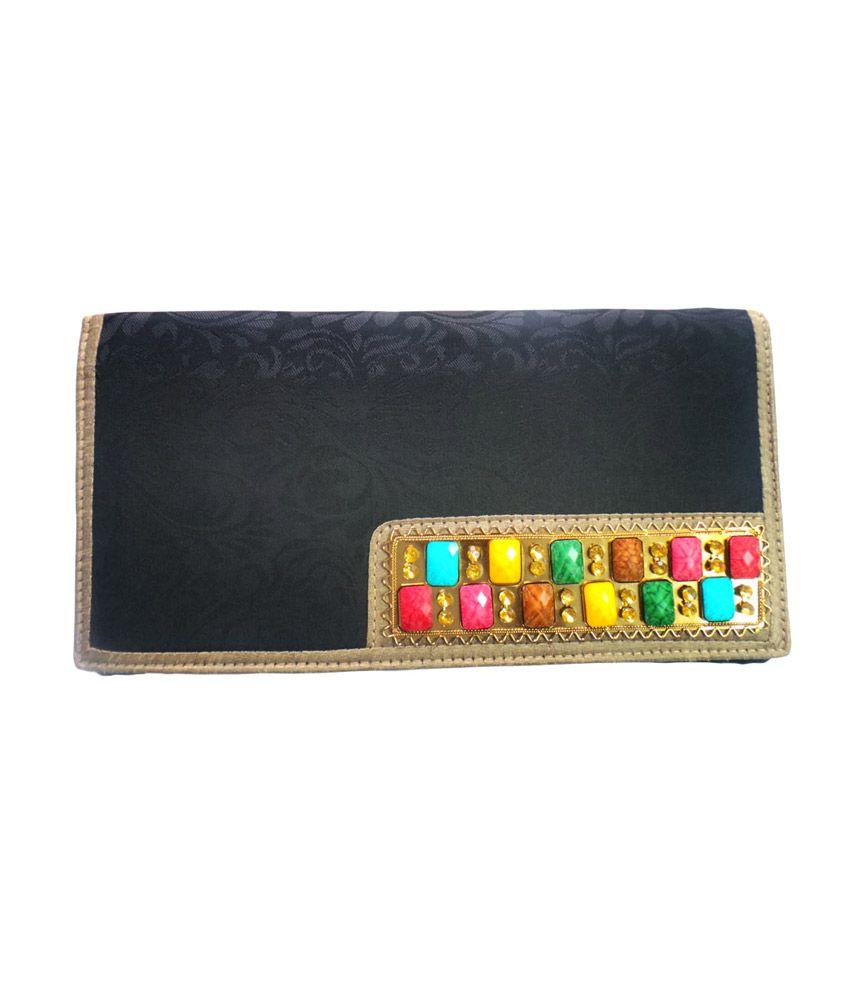 Bhamini Self Design Multi Colour Brooch Clutch(Black)