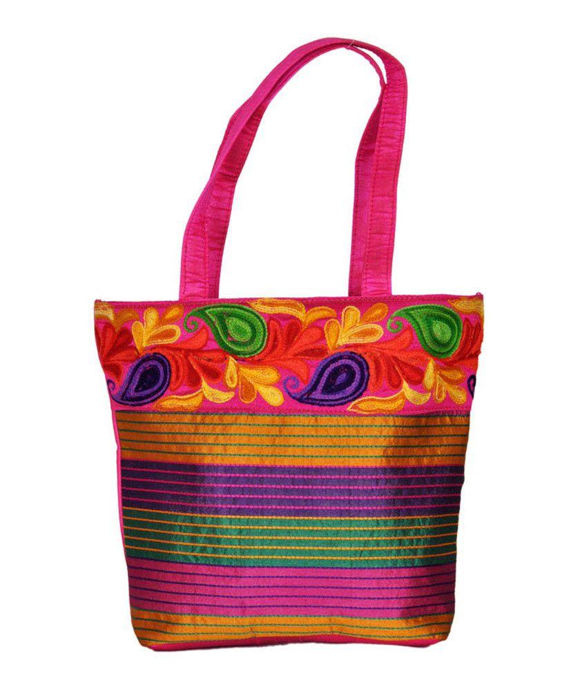 Craftstages Floral Design Ethnic Bag Pink