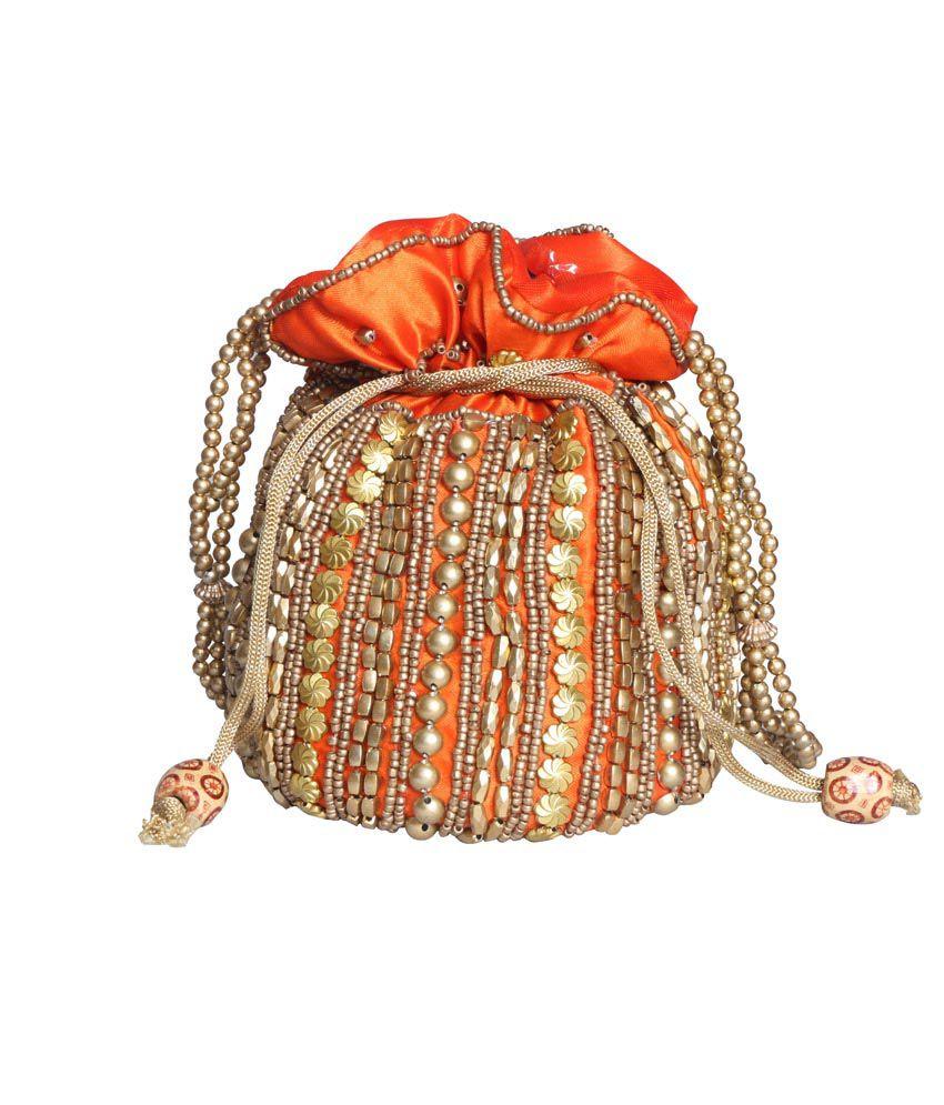 Craftstages Orange Ethnic Potli Bag
