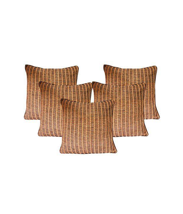 Dekor World Stripes Brown Cushion Covers (16x16 inches)