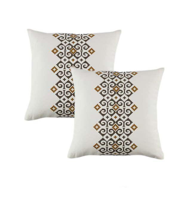 House This Beige Mexican Print Cushion Cover