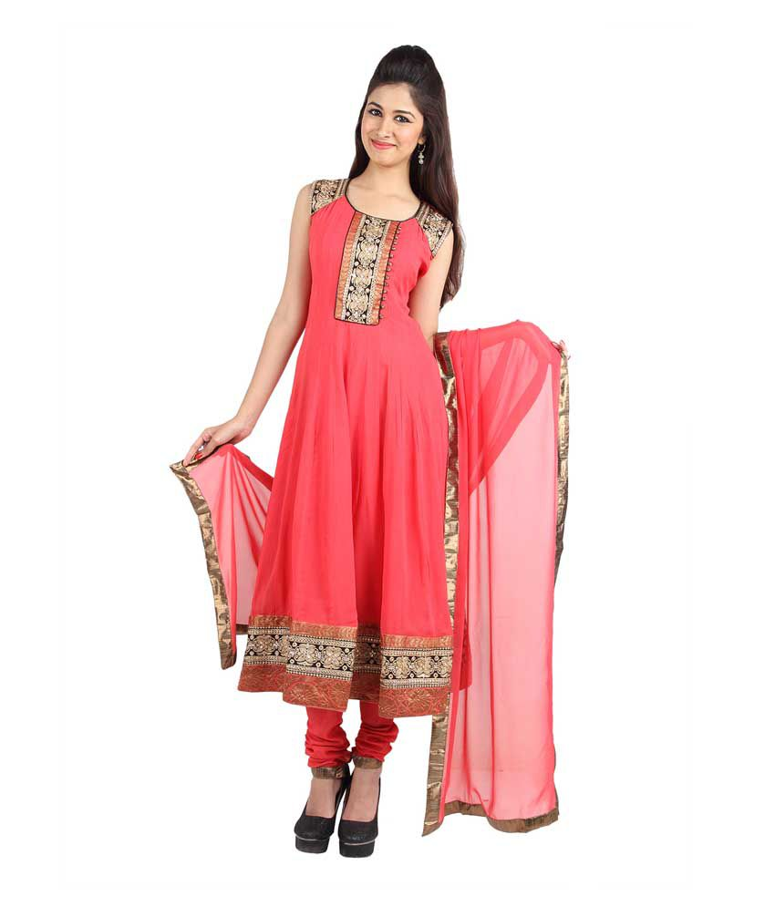 Mina Bazaar Embroidered Peach Georgette Designer Readymade Suit