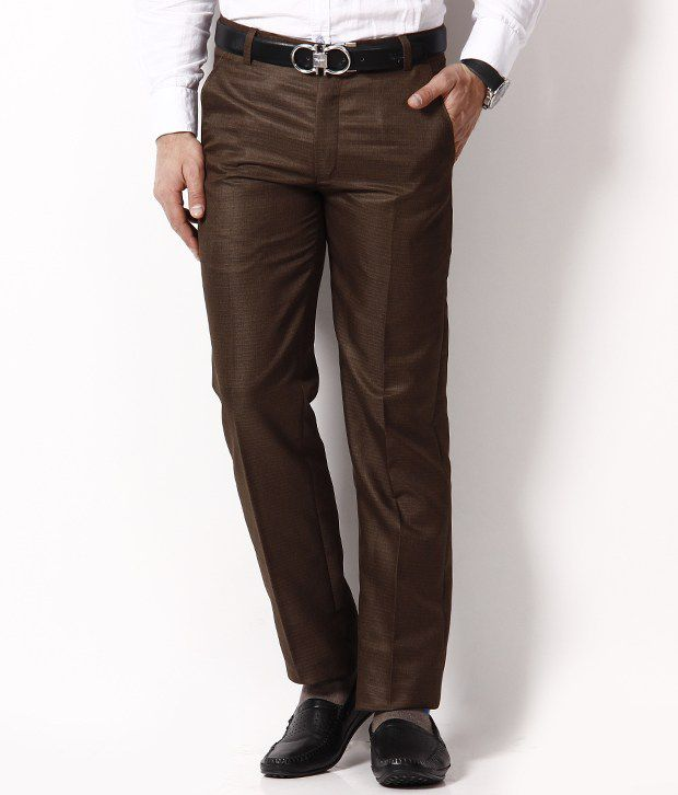 Spaky Brown Regular Pleated Trouser