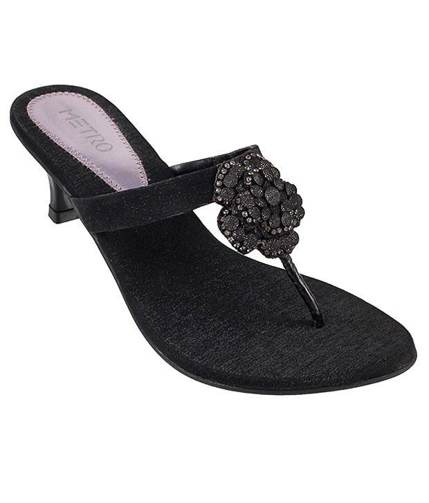 Metro Stunning Black Heeled Slip-on