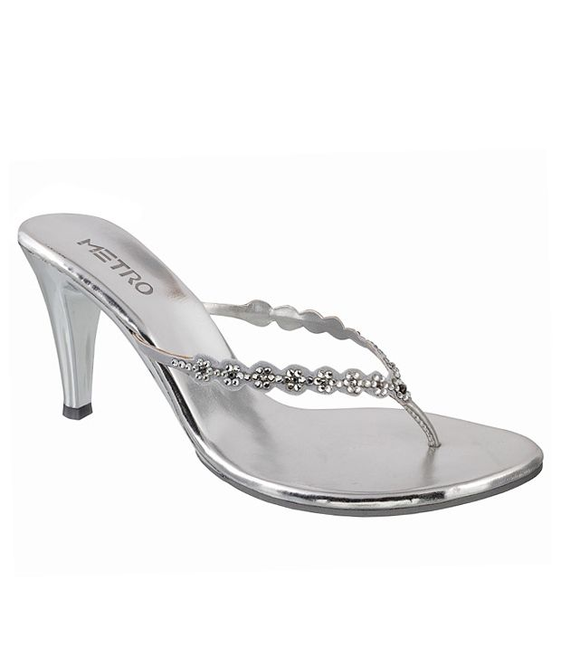 Metro Trendy Silver Heeled Slip-on