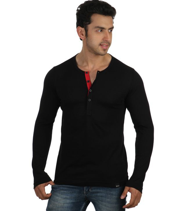 Rigo Black Full Sleeves Cotton Henley T-Shirt