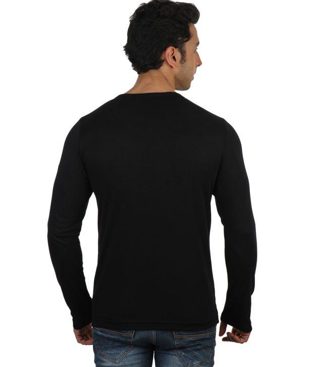 Rigo Black Full Sleeves Cotton Henley T-Shirt - Buy Rigo Black ...