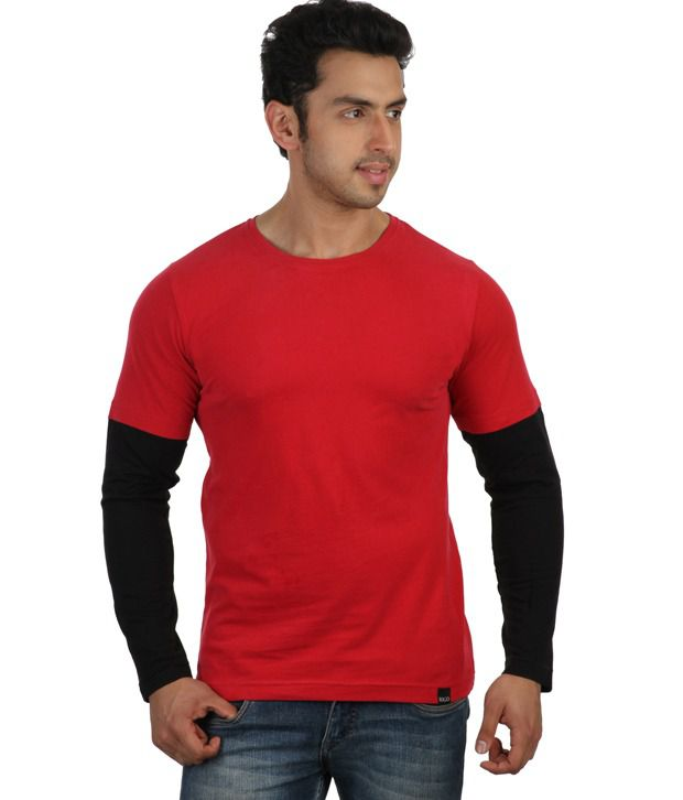 Rigo Red Full Sleeves Cotton Round T-Shirt