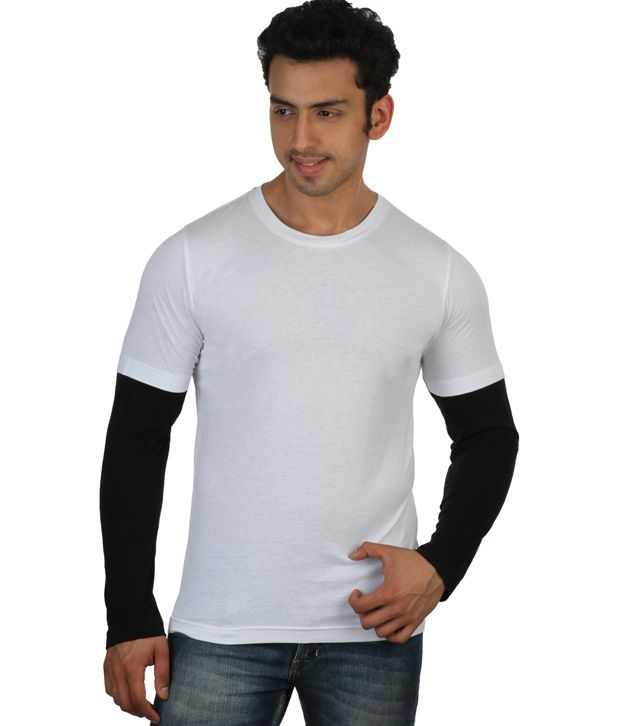 Rigo White Full Sleeves Cotton Round T-Shirt
