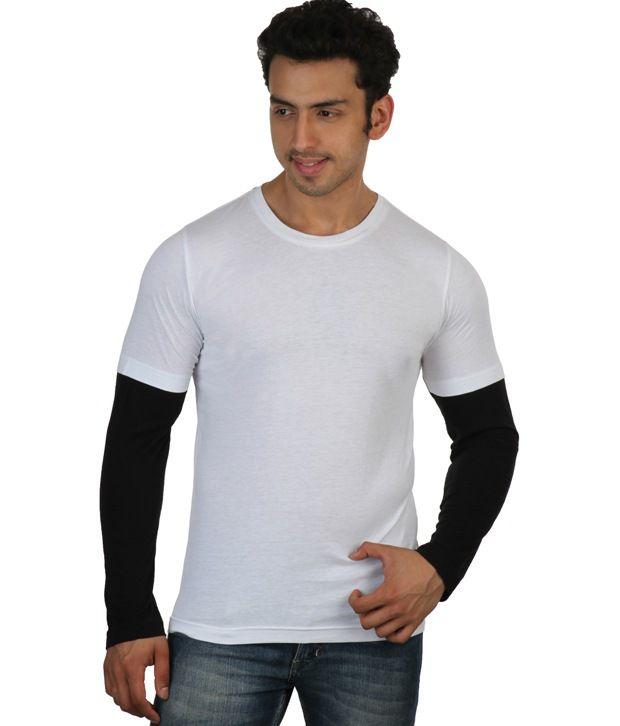 Rigo White Full Sleeves Cotton Round T-Shirt