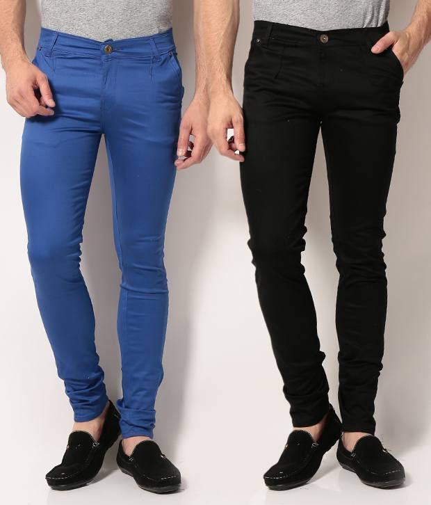 VAM Jeans Pack of Blue & Black Cotton Chinos