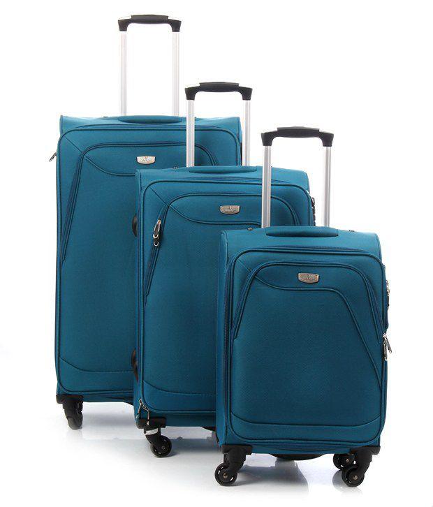 061613c035c9 Verage Blue 20 inch, 24 inch, 28 inch 4 Wheel Upright Trolley - Set of 3