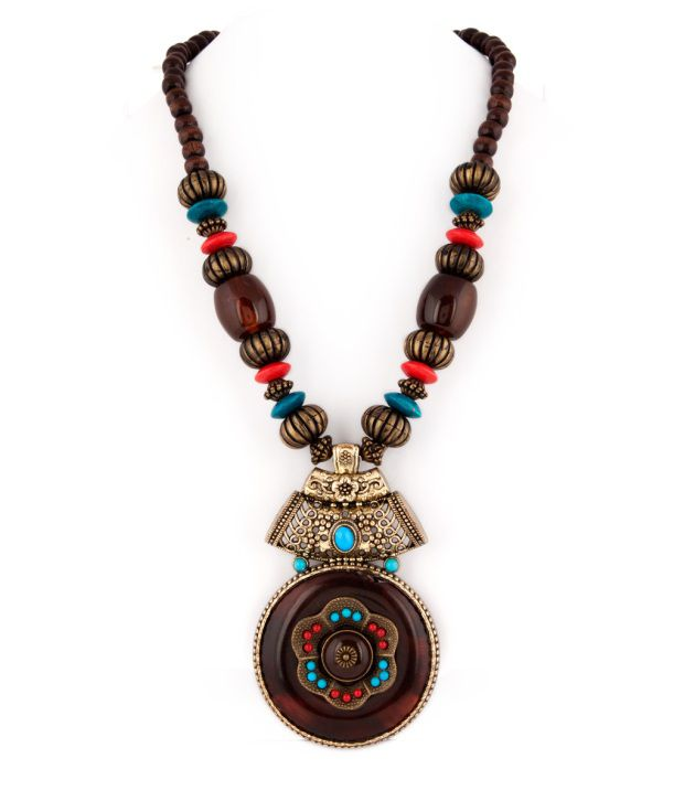 Voylla Adorable Beaded Necklace With Brown Pendant