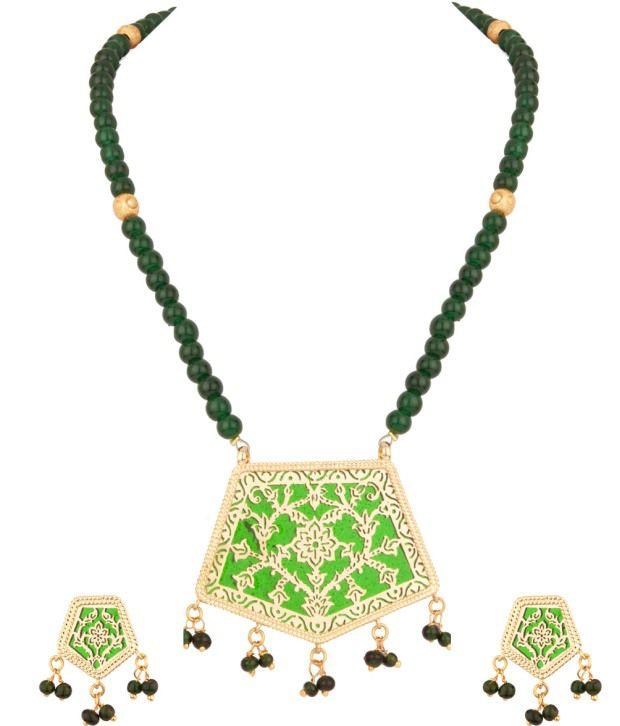 Voylla Adorable Green Bead; Floral Thewa Art Necklace Set