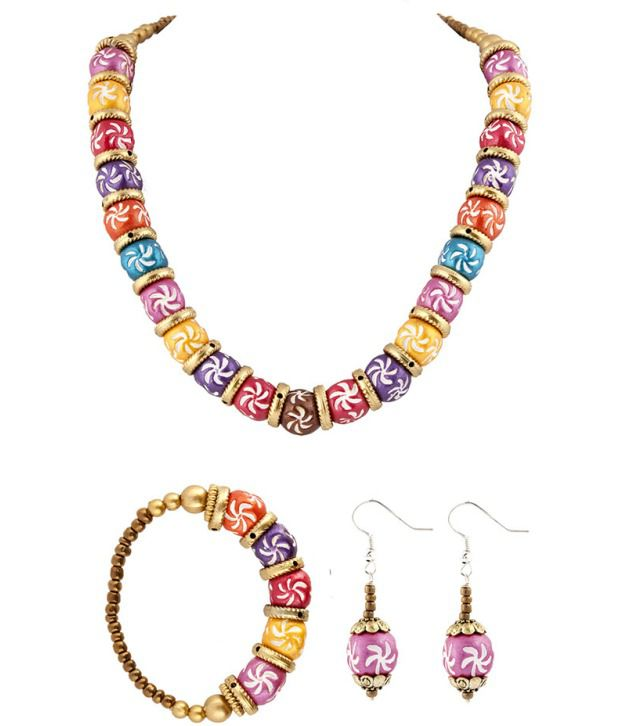 Voylla Amazing Floral Ceramic Beaded Jewellery Set